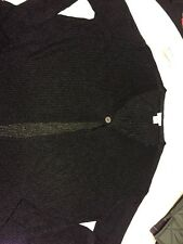 Joan And David Chain Mail One Button Cardigan Black OS