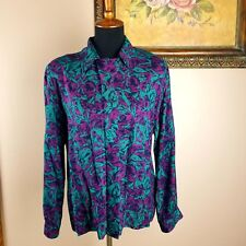 Womens Vintage Pendleton Country Sophisticates Floral Blouse Size 12 Button Down