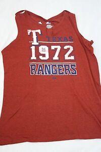 NEW Womens MAJESTIC Texas RANGERS 1972 Split Neck Style Baseball MLB Tank Shirt