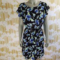 Apt. 9 Floral Size Medium Short Flutter Sleeve Sheer Elastic Waist Belt Dress