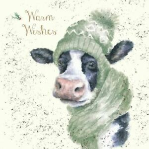 Wrendale Christmas Card cow & scarf warm wishes