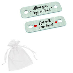 When Your Legs Get Tired Run With Your Heart Pair Metal Trainer Runner Tags Gift