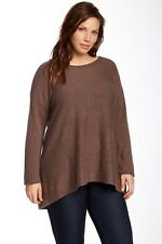Philosophy 100% Pure Cashmere Boatneck Tunic Top, Land Heather, Plus Size 1X.