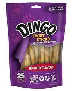 4x25-Count Dingo Twist Sticks with Peanut Butter, Rawhide Chew, 25-Count 2020