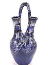 """Studio Art Pottery Southwest Indian Wedding Vase Drip Glaze Blue White 14"""" Signd"""