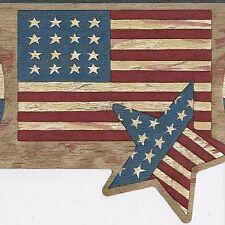 Americana Patriotic USA Flag, Stars & Hearts  - Wallpaper Borders A212A