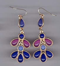 Shades of Purple & Blue Yellow Gold Plated Statement Chandelier Earrings