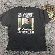 Mens Gray Short Sleeve Shirt Big Bang Theory Super Villain T-Shirt Size X  Large