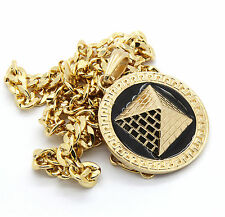 """Mens Round Pyramid Pattern Gold Plated Black 24"""" Cuban Chain Pendant Necklace"""