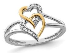 14K белого и желтого золота сердце обручальное кольцо с бриллиантами