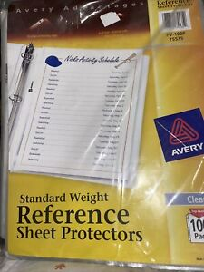 Avery Sheet Protectors standard weight Reference 100 Pack Top Load New Clear