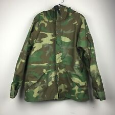 US Army Military Goretex Woodland Camo Cold Weather Parka Jacket Med Short FLAWS