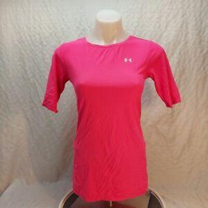 size small Under Armour heat gear pink womens short sleeve active  t shirt