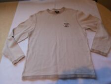 Nautica Jeans Company Men's Beige Thermal Long Sleeve Shirt size M logo nice