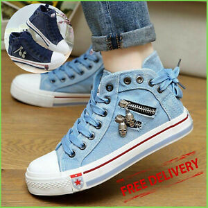 Women's Denim Chic High-top Back Lace-p Breathable Flat Canvas Sneakers Shoes