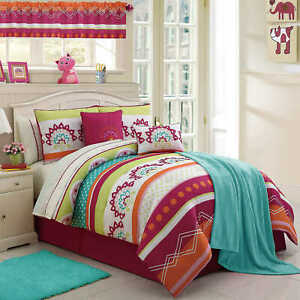 Twin Size Bed Bag Pink Blue Green Polka Dots 11 pc Comforter Throw Set Bedding