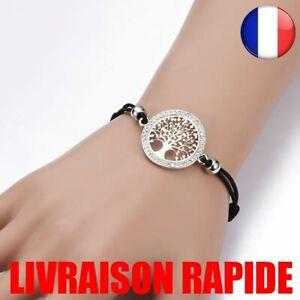 Arbre De Vie Charms Bracelet Femmes Élastique Cordon Réglable Cristal Bijoux