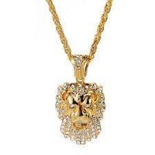 "Crystal Inlaid Pendant 30"" Link Chain Necklace Men's Hip Hop Gold Tone Lion Head"