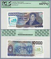 1985 Argentina 10,000 Pesos PCGS 66 PPQ Gem Unc 10 Australes Banknote Currency