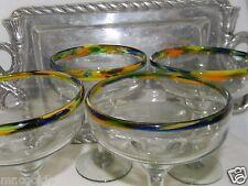 Mexican Glassware Multicolor Confetti Rim Margarita Glasses Set 4 & Silver Tray