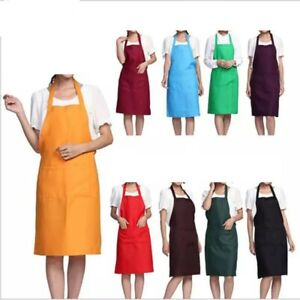 Plain Apron Front Pockets Chefs Butcher Kitchen Cooking-Baking-Craft-Catering-UK