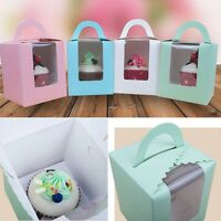 1/5/10 Pcs Single Cupcake / Muffin / Fairy Cake Boxes With Clear Window Gift Box