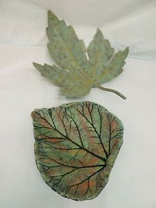 """ART METAL LEAF FOR WALL OR TABLE & CLAY TABLETOP LEAF GREEN 15"""" & 11"""""""