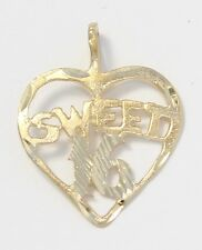 14k Yellow Gold Diamond Cut Sweet 16 Heart Charm Necklace Pendant