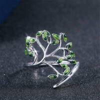 Adjustable Green Peridot Ring 925 Silver Women Wedding Engagement Ring Gift