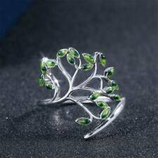 Women 925 Silver Wedding Engagement Ring Green Peridot Adjustable Ring Gift