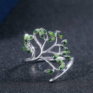Adjustable Green Peridot Ring 925 Silver Women Wedding Engagement Ring Gift