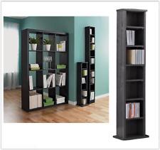 Black Media Storage Tower Bookcase CD DVD Unit Rack Stand Books Shelves Wooden
