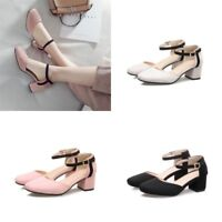 Womens Mary Jane Block Heels Ankle Strap Suede Pumps Buckle Sandals Casual Shoes