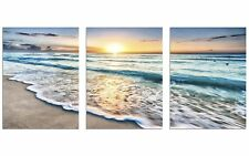 3 Panel Canvas Wall Art Beach Sand Sunset Ocean Picture Home Decor Ready To Hang