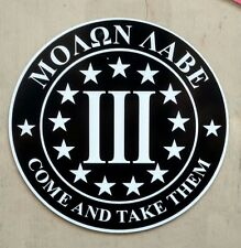 "Biker Militia 3% Percent Molon Labe Come And Take Them Decal (4"")"