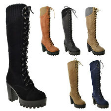 Women's Knee High Boots Platform Chunky Heel Lace Up Knitted Collar Winter Shoes