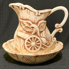 Vintage American Patriotic Small Pitcher & Bowl Set Eagle on Cannon 5� Tall