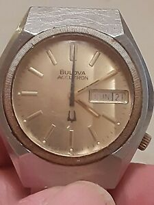 Mens 1977 BULOVA ACCUTRON 2193.10 WATCH STAINLESS UNUSUAL DIAL