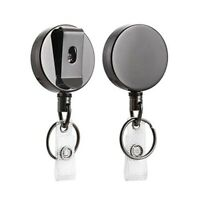 2 Pack Heavy Duty Retractable Badge Holder Reel,Metal ID Badge Holder with  W6S8