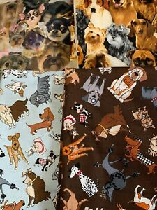 DOG BREED DISIGN  FABRIC REVENANTS ALL NEW