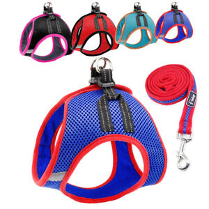Small Cat Dog Breathable Mesh Harness Vest Collar Soft Reflective with Leash set