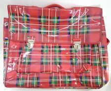 Vintage Caren Cole Backpack School Bag Woman Tartan Plaid Made-France w/ latches