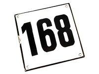 Vintage Antique German Porcelain Enamel Street House Number 168 Metal Sign 1960s