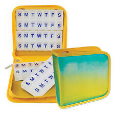 Pill Vitamins Organizer Travel Case Home 4 / 8 weeks Turquoise Yellow #PBO-R002#