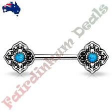 Nipple Barbell With Antique Silver Tribal Flower Ends Turquoise Centre
