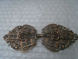 Exquisite antique cardigan / shawl buckle with amazing ornate design  WOW LOOK
