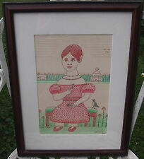 JACK SAVITSKY FOLK ART DAISE MAE Young Girls Portrait with Daisies 1987 Framed