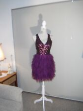 Designer Eileen Kirby Purple Sequin/Tulle Cocktail Dress Size 8