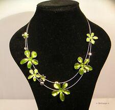 Kette + Collier +  Blumen +  Emaille +  grün + olivgrün Frühling