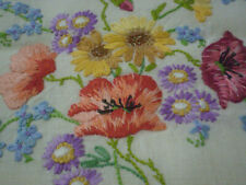 More details for pretty vintage hand embroidered tablecloth - poppies,forget-me-knots & more